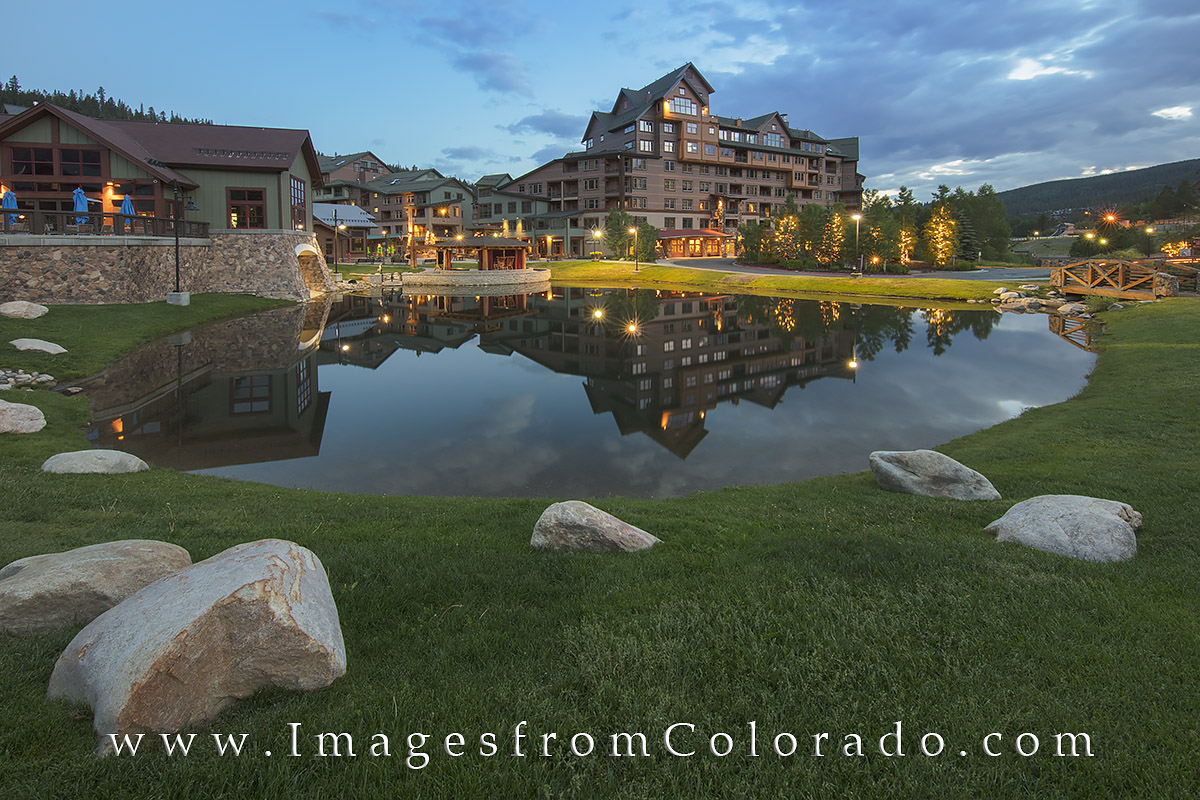 winter park, ski base, winter park base, summer, winter park colorado, base, sunrise, morning, pond, reflection, grand county, hideaway village, winter park photos, hideaway park images, hideaway park, photo