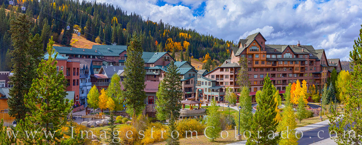 Fall colors adorn the Winter Park Ski Resort base. This is my favorite time to be in the area - small crowds, beautiful colors...