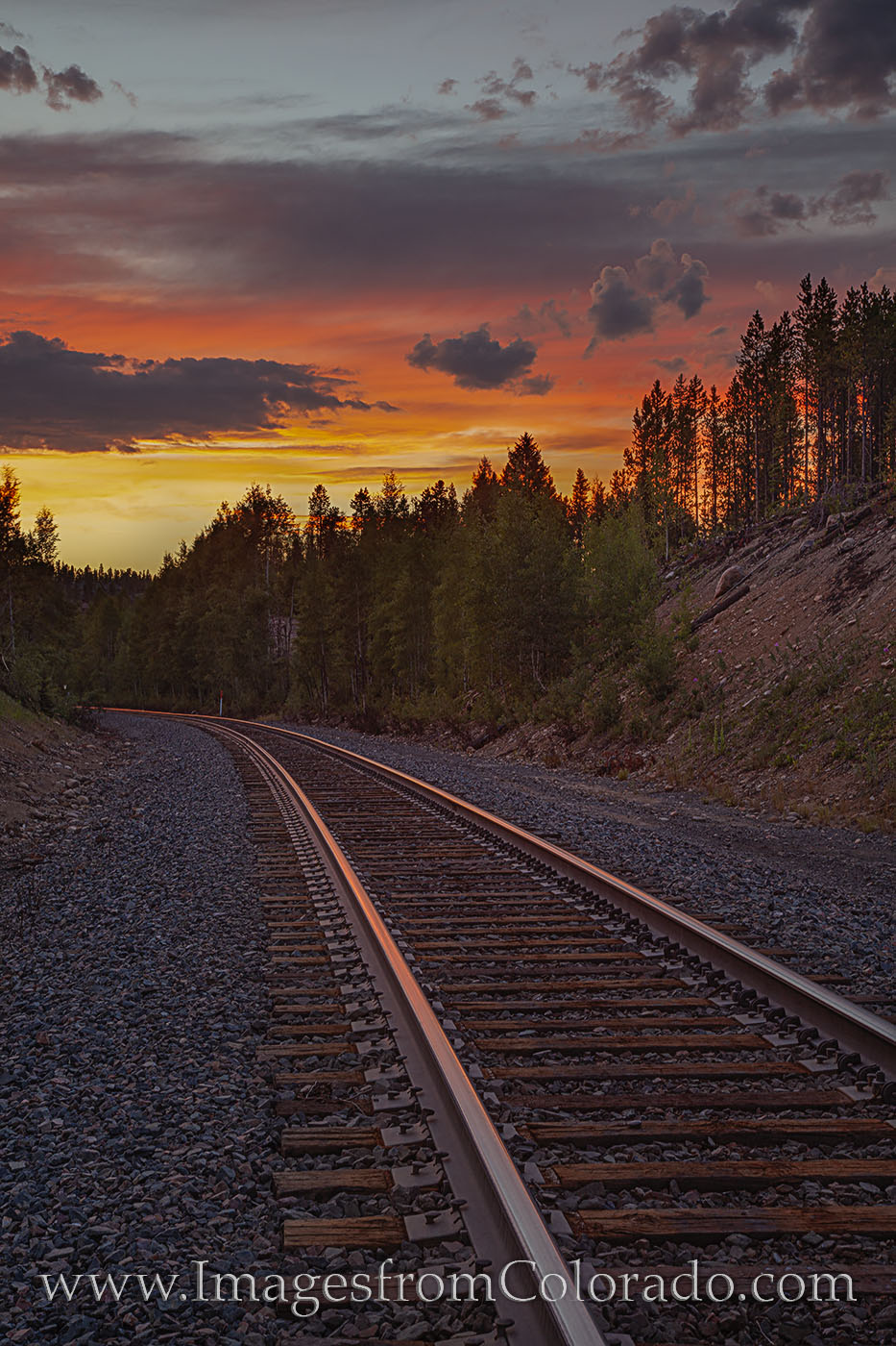 winter park, traintracks, sunset, grand county, tracks, orange, hideaway park, mountains, rockies, photo
