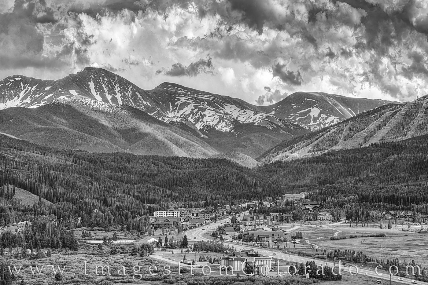winter park, black and white, parry peak, ski slopes, summer, hwy 40, berthoud pass, 13ers, summer, clouds, storm clouds, photo
