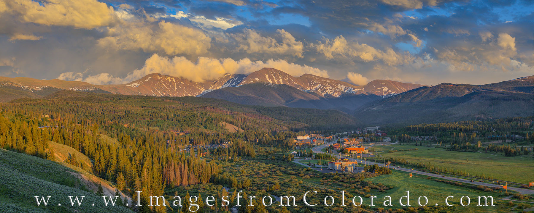 This panorama shows the area around Winter Park, Colorado, on a cool summer evening. Highway 40 heads north through the resort...