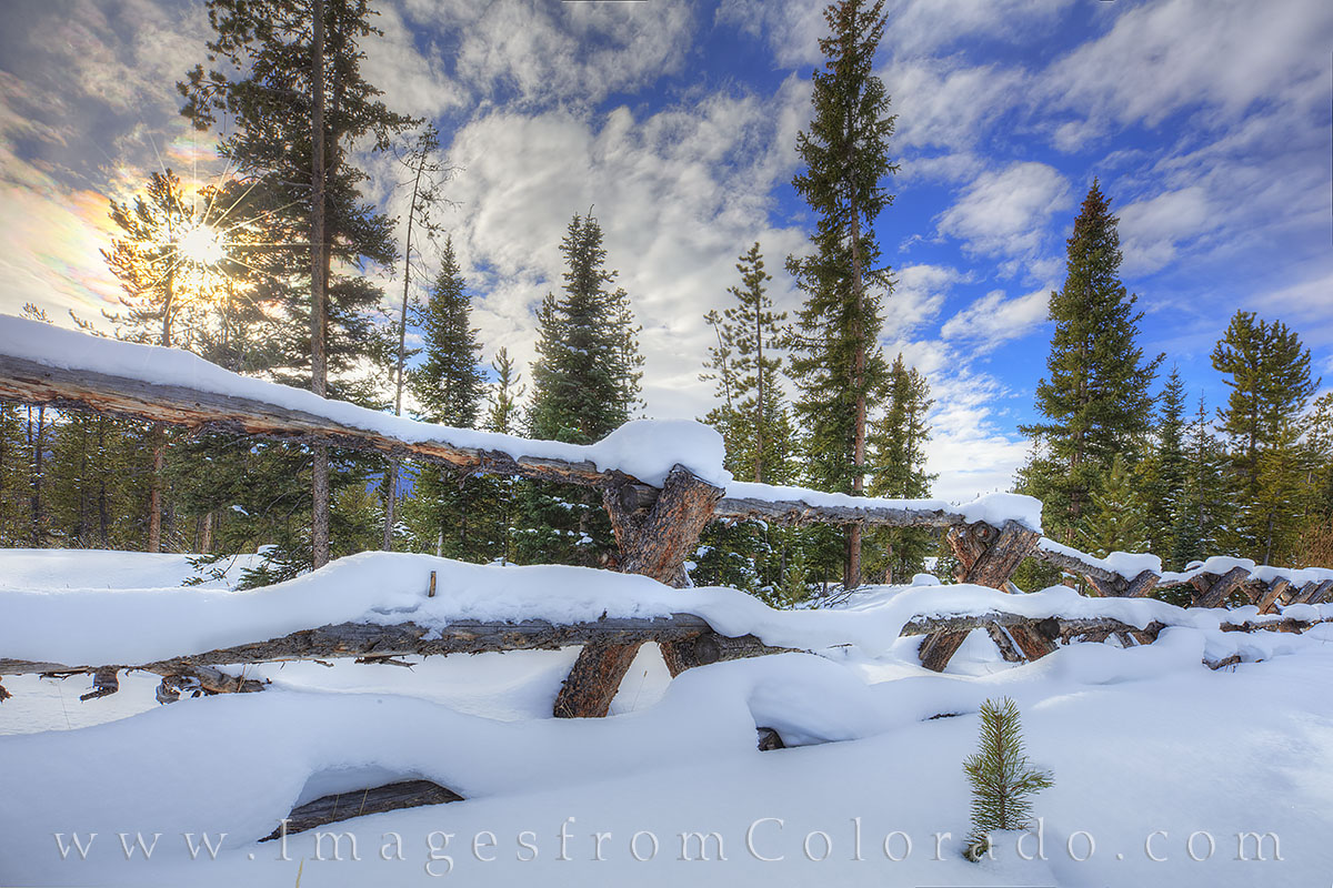fence, wooden fence, winter park, fraser grand county, snow, winter, cold, morning, sunrise, pine, december, hiking, quiet, solitude, photo